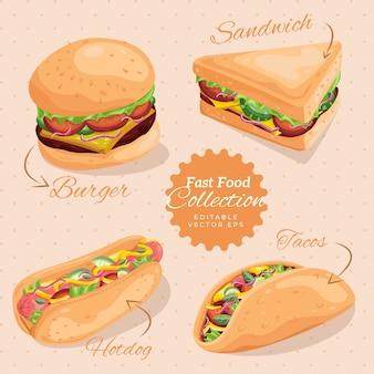 Coleção de ilustrações de fast food