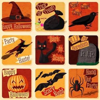 Coleção de ilustrações de halloween estilizadas retrô fofas com sinais de feriado e todos os símbolos - gato, morcego, bruxa, abóbora, corvo, aranha etc.