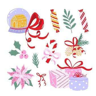 Coleção de ilustrações de natal. conjunto de clipart de férias de inverno isolado no fundo branco