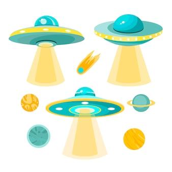 Coleção de ilustrações de ovnis e planetas