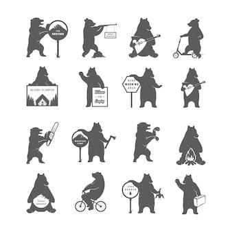 Coleção de ilustrações de ursos