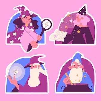 Coleção de ilustrações de vários mágicos