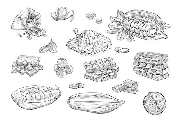 Coleção de ilustrações desenhadas à mão de elementos de chocolate