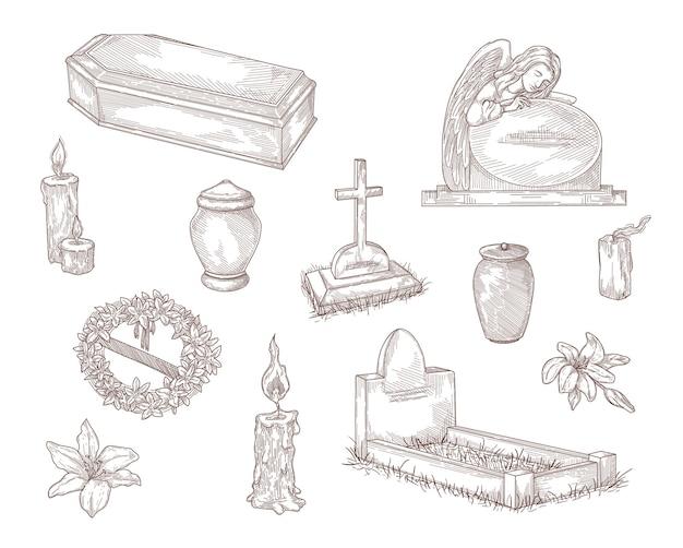 Coleção de ilustrações desenhadas à mão de elementos de serviços funerários