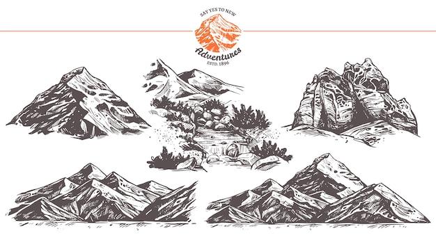 Coleção de ilustrações desenhadas à mão de montanhas.