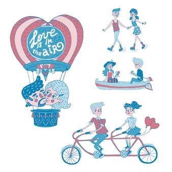 Coleção de ilustrações desenhadas à mão retratando casais jovens felizes em atividades ao ar livre
