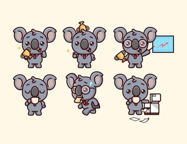 Coleção de ilustrações dos desenhos animados do trabalhador de escritório bonito da koala Vetor Premium