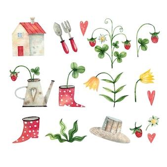 Coleção de ilustrações em aquarela de ferramentas de jardinagem, morango, botas, flores, flores