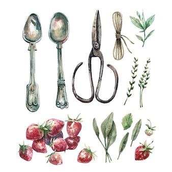 Coleção de ilustrações em aquarela