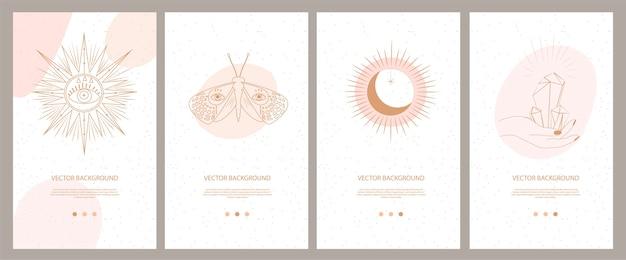 Coleção de ilustrações místicas e misteriosas para aplicativo móvel, página de destino