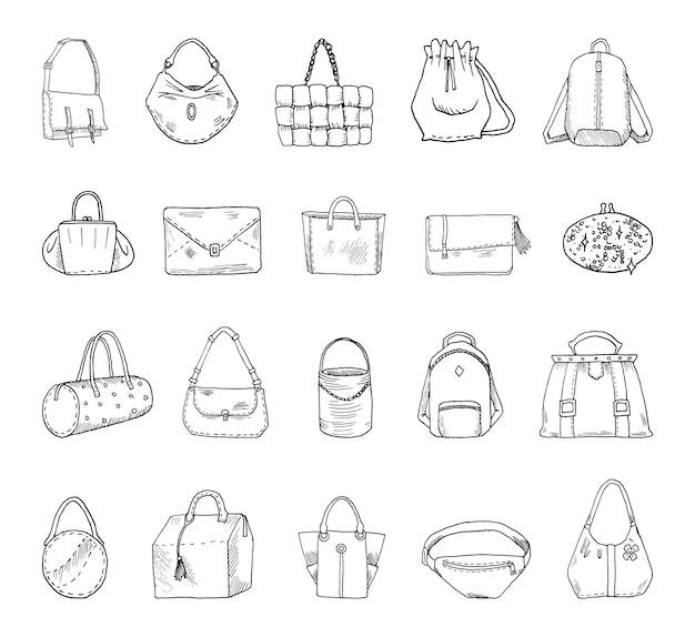 Coleção de ilustrações monocromáticas de bolsas em estilo de desenho