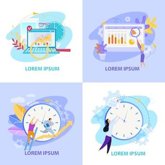 Coleção de ilustrações plana de vida de escritório