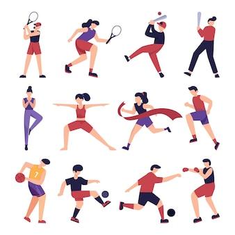 Coleção de ilustrações planas de esportes