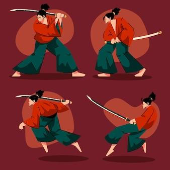 Coleção de ilustrações planas de samurai