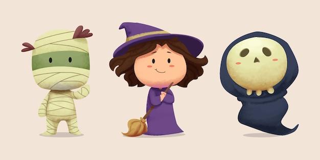 Coleção de ilustrações temáticas de halloween