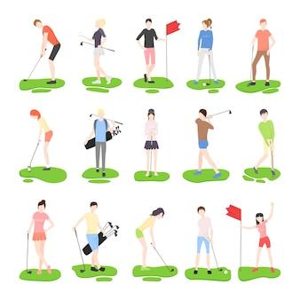 Coleção de ilustrações vetoriais com personagens jogando golfe.