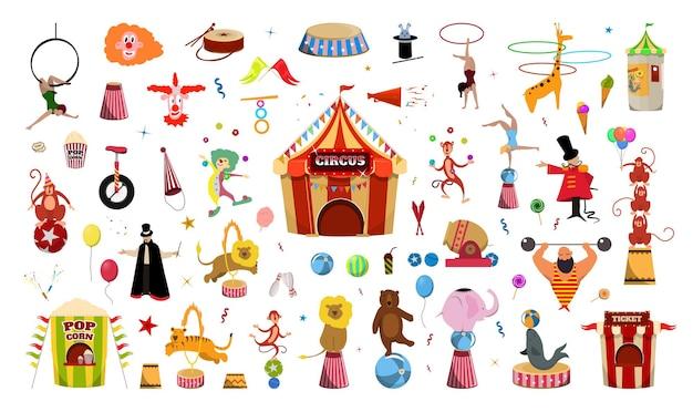 Coleção de ilustrações vetoriais sobre o tema circo.