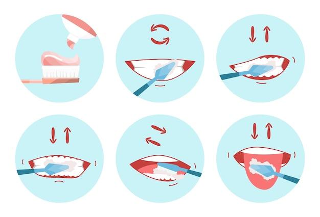 Coleção de imagens de dentes limpos. escova dentária. use escova de dente de higiene para os dentes. conceito de cuidados de saúde bucal. higiene bucal e dentária passo a passo.