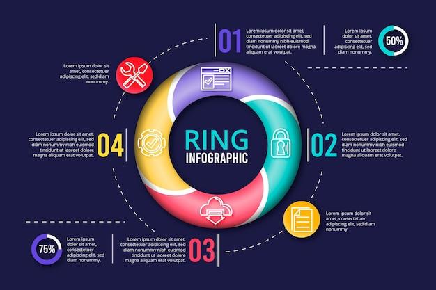 Coleção de infográfico de anel 3d