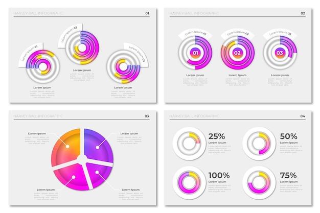 Coleção de infográfico de diagramas de bola harvey gradiente