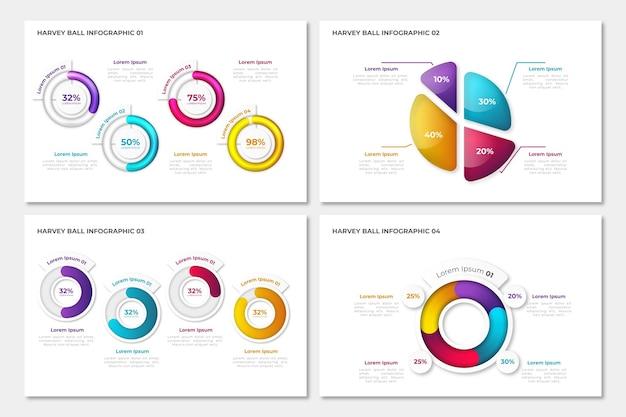 Coleção de infográfico de diagramas de bola harvey realista