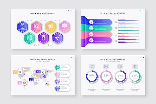 Coleção de infográfico de diferentes tecnologias