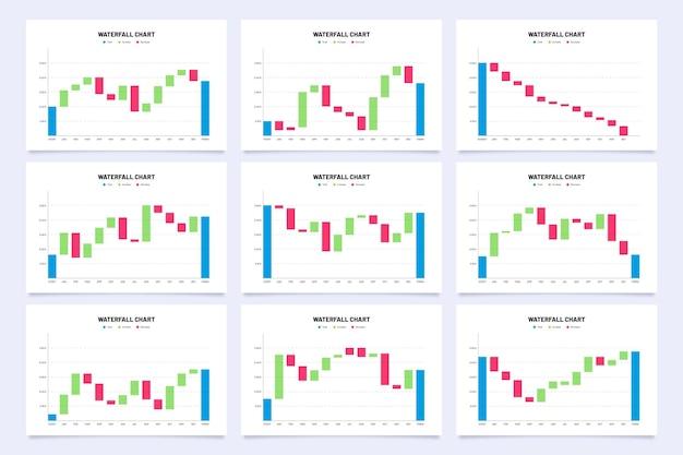 Coleção de infográfico de gráfico de cachoeira de design plano