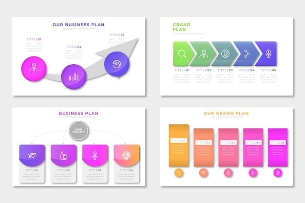 Coleção de infográfico de plano de negócios