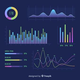 Coleção de infográfico design plano de gráficos