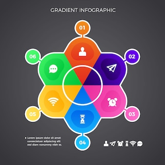 Coleção de infográfico gradiente