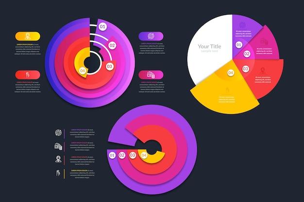 Coleção de infográfico radial gradiente