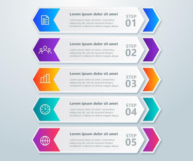 Coleção de infográficos coloridos com 5 etapas