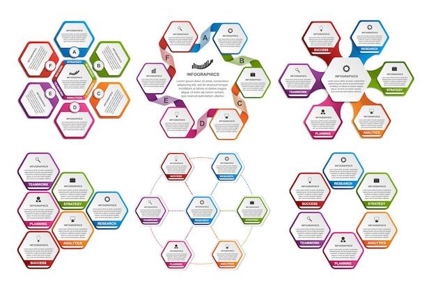 Coleção de infográficos coloridos do hexágono.
