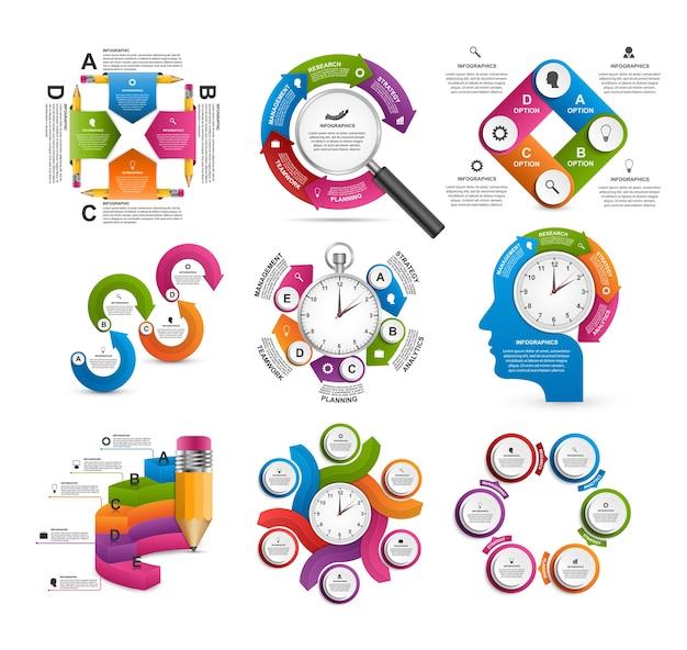 Coleção de infográficos coloridos.