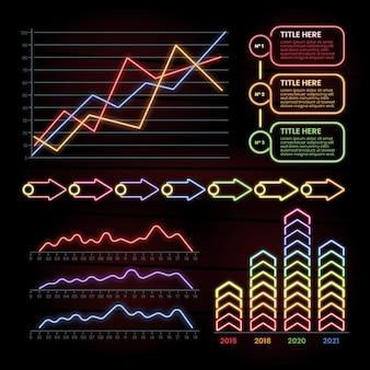 Coleção de infográficos de néon