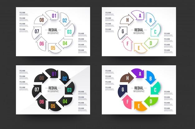 Coleção de infográficos do círculo. oito passos infográfico círculo com quatro cores de estilo.