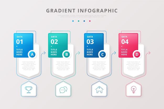 Coleção de infográficos em estilo gradiente