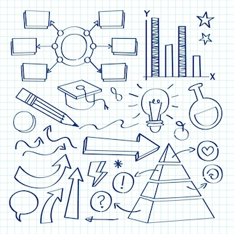Coleção de infográficos escolares desenhados à mão