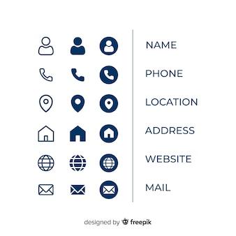 Coleção de informações de ícone de cartão de visita