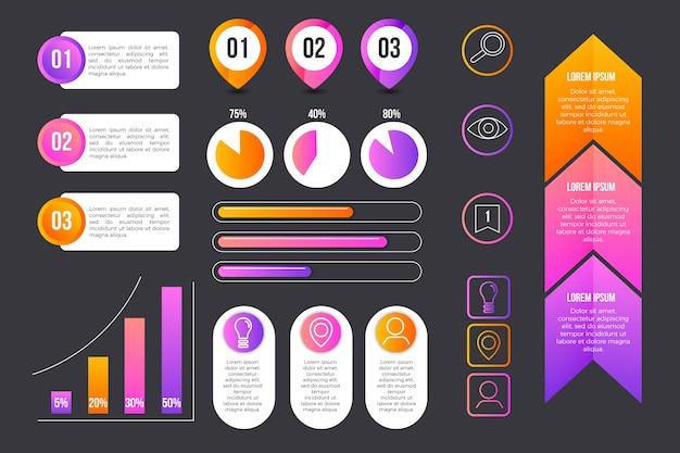 Coleção de informações do elemento infográfico