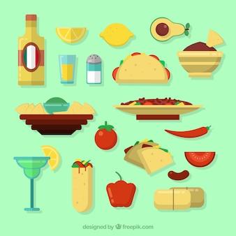 Coleção de ingrediente mexicano e comida