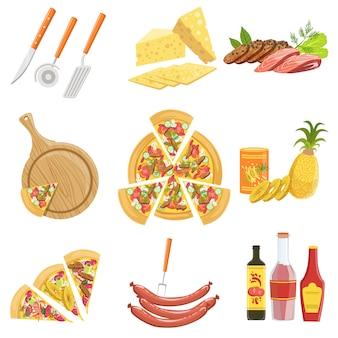 Coleção de ingredientes de pizza e utensílios de cozinha