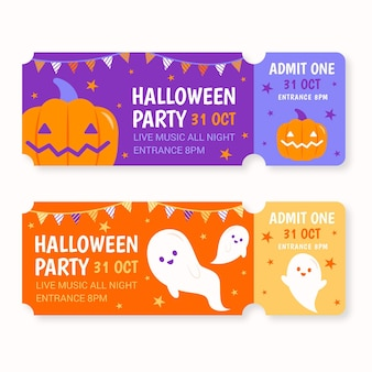 Coleção de ingressos para o halloween