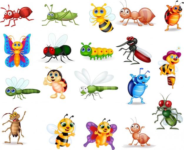 Coleção de insetos dos desenhos animados