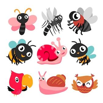 Coleção de insetos e pássaros