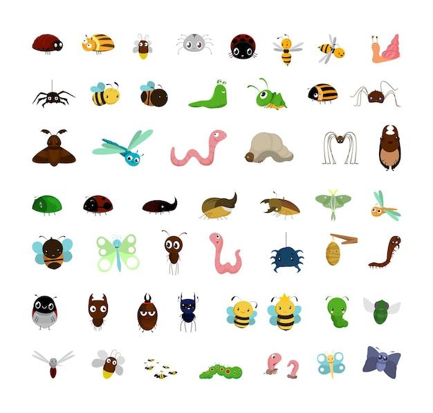Coleção de insetos engraçados de desenho animado