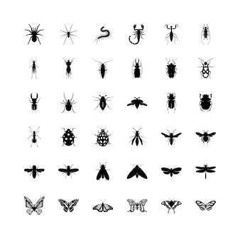 Coleção de insetos pretos isolados