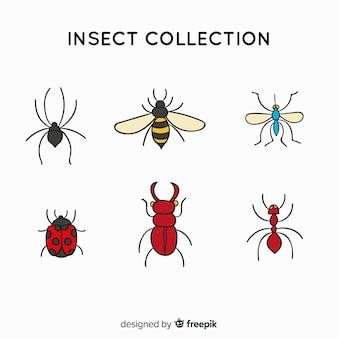 Coleção de insetos simples