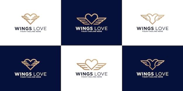 Coleção de inspiração de design de logotipo de coração alado em estilo de linha