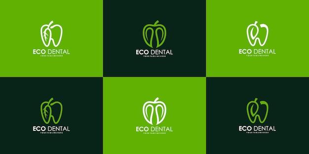 Coleção de inspiração de design de logotipo de dente de folha